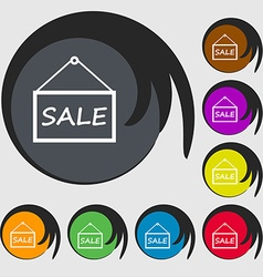Sale tag icon sign symbols on eight colored vector