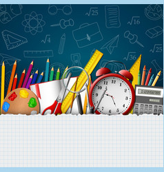 school whiteboard background with school supplies vector image