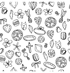 Seamless jewellery pattern with charms beads vector image