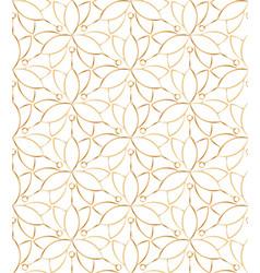 Seamless linear golden flower pattern on white vector