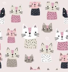 seamless with cute cats scandinaviann vector image