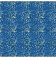 Seashells seamless pattern Blue vector