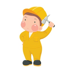 Service worker in yellow work wear with hammer vector