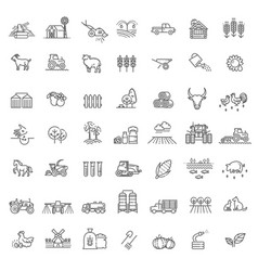 Set agriculture and farming line icons vector