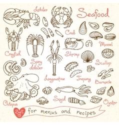 Set drawings of seafood for design menus recipes vector