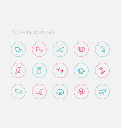 Set of 15 editable zoology outline icons includes vector