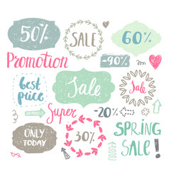 set of hand drawn vintage cute labels sale vector image