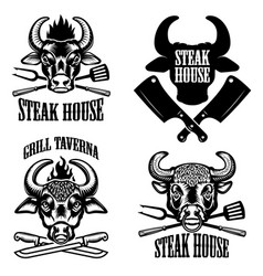 Set of steak house emblems fresh beef bull heads vector