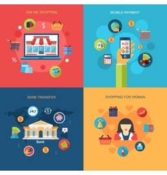 set online shopping mobile payment shopping vector image