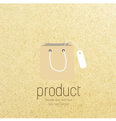 Shopping bag icon on paper vector