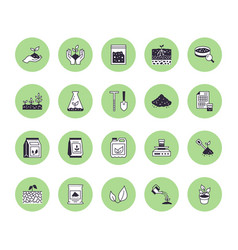 Soil testing flat line icons set agriculture vector