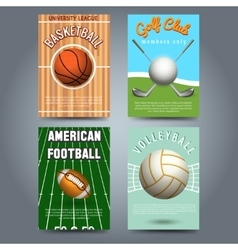 Sport brochure flyers template set vector image