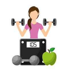Sporty woman lifting a heavy weight barbell with vector
