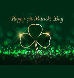 st patricks day background with shamrock on bokeh vector image