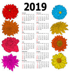 Stylish calendar with flowers for 2019 week vector