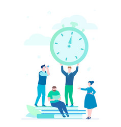 time management - flat design style vector image
