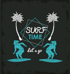 Tropical surfing lifestyle theme vector