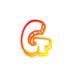 Warm gradient line drawing cartoon letter g vector