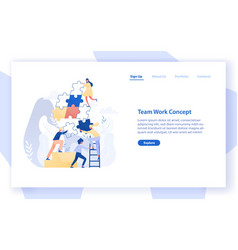 Web banner template with group of tiny office vector