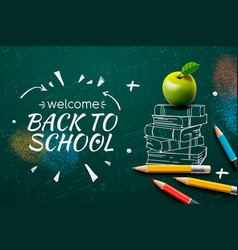 welcome back to school web banner apple pencils vector image