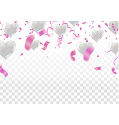 White balloons confetti flag and party popper on vector