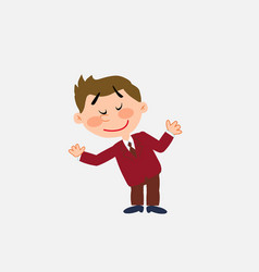 White businessman making a gesture of welcome vector