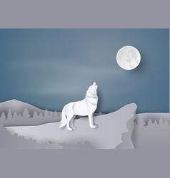 Wolf howl on cliff vector
