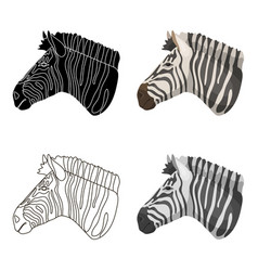 Zebra icon in cartoon style isolated on white vector