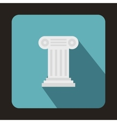Ancient Ionic pillar icon flat style vector image