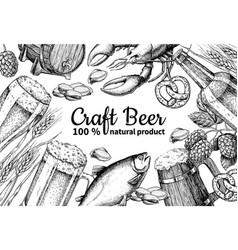 beer frame banner alcohol beverage hand vector image