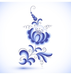 Blue floral element in gzhel style vector image vector image