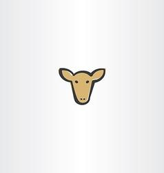 brown cow head icon vector image vector image