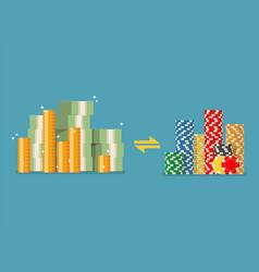 cash money exchange for casino chips vector image vector image