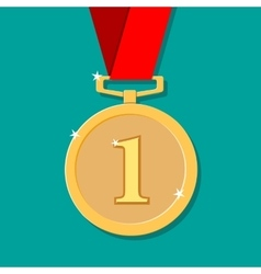golden medal in flat style vector image vector image