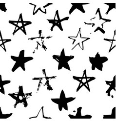 hand drawn paint seamless pattern black and white vector image vector image