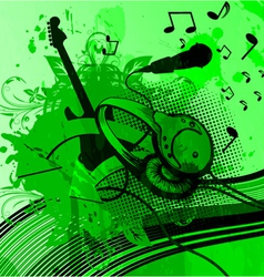 headphones with grunge background vector image