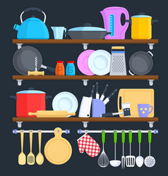 kitchen shelves with cookware and cooking vector image vector image