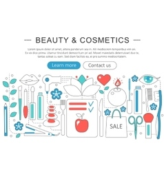 Modern Flat thin Line design Beauty and cosmetics vector image