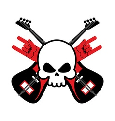 Skull with guitars and rock hand symbol Logo for vector image
