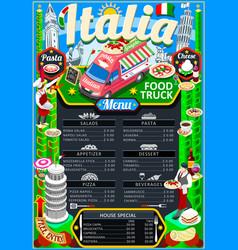 food truck menu street food pizza festival poster vector image