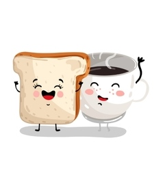 Funny toast bread and coffee cup cartoon character vector image