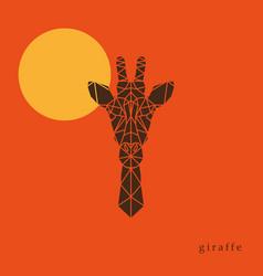 giraffe head geometric lines silhouette vector image