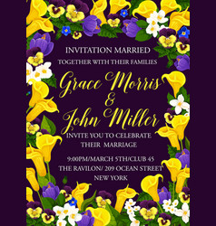 party invitation card of flowers vector image