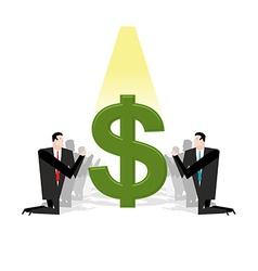 Businessman praying to dollar Financial idol vector image