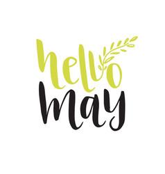 hand lettering hello may social media blog icon vector image vector image