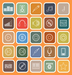Music line flat icons on orange background vector image vector image