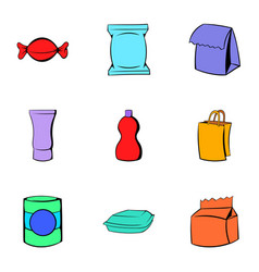 packaging icons set cartoon style vector image vector image