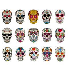 set of sugar skulls dead day dia de los muertos vector image vector image