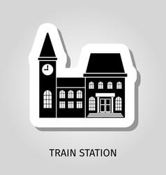 train station black building sticker vector image
