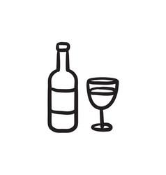 bottle of wine sketch icon vector image vector image